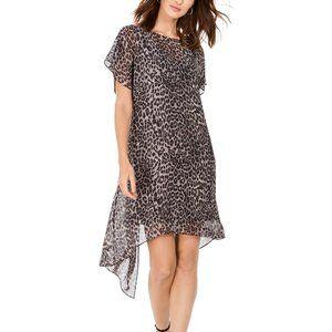 $109.00 Adrianna Papell Leopard-Print Chiffon Flyaway Dress Size M